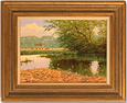 David Morgan, Original oil painting on canvas, Across the Lake