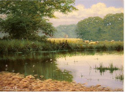 David Morgan, Original oil painting on canvas, River Scene Without frame image. Click to enlarge