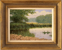 David Morgan, Original oil painting on canvas, River Scene Large image. Click to enlarge