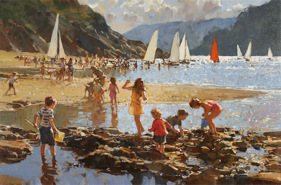Dianne Flynn, Original acrylic painting on canvas, Ebbtide, Salcombe Without frame image. Click to enlarge