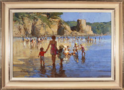 Dianne Flynn, Original acrylic painting on canvas, Salcombe, South Sands