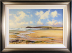 Duncan Palmar, Original oil painting on panel, Out with the Dog in Constantine Bay