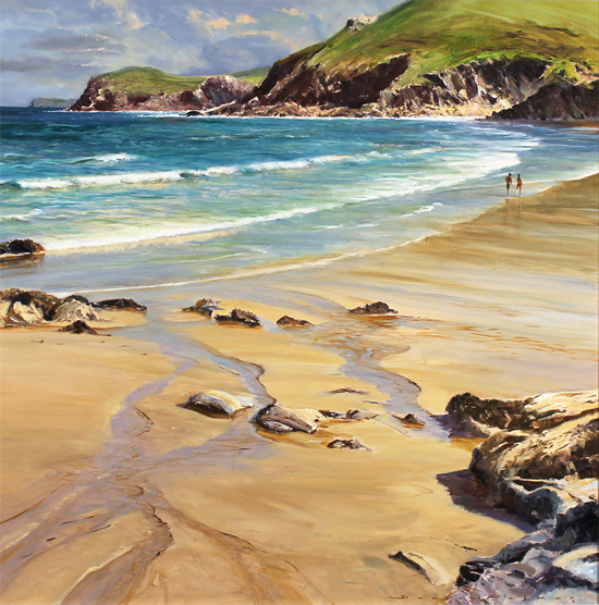Duncan Palmar, Original oil painting on panel, Lundy Bay Without frame image. Click to enlarge