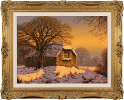 Edward Hersey, Original oil painting on canvas, Evening Falls, North Yorkshire
