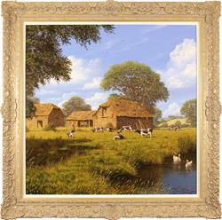 Edward Hersey, Original oil painting on canvas, Summer Farm