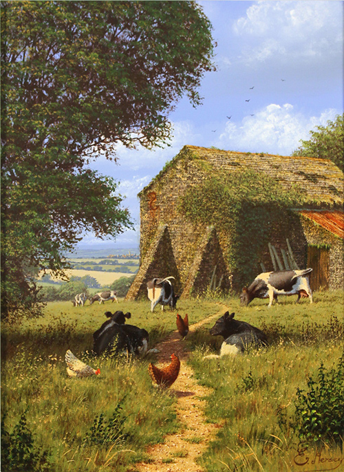 Edward Hersey, Original oil painting on canvas, Summer at the Old Dairy