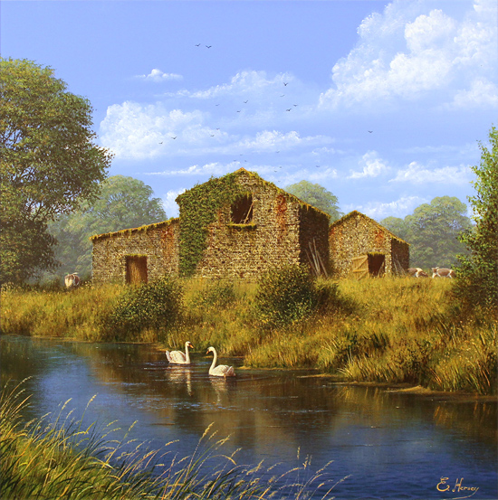 Edward Hersey, Original oil painting on canvas, Summer Graces No frame image. Click to enlarge