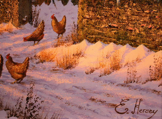 Edward Hersey, Original oil painting on canvas, Winter Walk, North Yorkshire Signature image. Click to enlarge