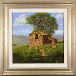 Edward Hersey, Original oil painting on canvas, The Lone Barn, Yorkshire Dales