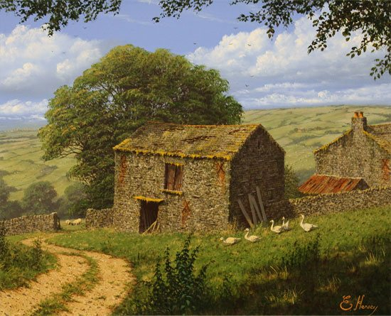 Edward Hersey, Original oil painting on canvas, Summer in the Yorkshire Dales Without frame image. Click to enlarge