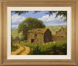 Edward Hersey, Original oil painting on canvas, Summer in the Yorkshire Dales Large image. Click to enlarge