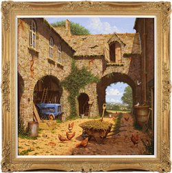 Edward Hersey, Original oil painting on canvas, The Farmyard and Beyond, North Yorkshire