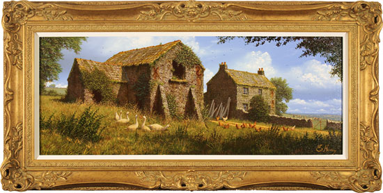 Edward Hersey, Original oil painting on canvas, Summer Farmhouse