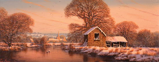 Edward Hersey, Original oil painting on canvas, The Warm Glow of Winter No frame image. Click to enlarge