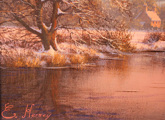 Edward Hersey, Original oil painting on canvas, The Warm Glow of Winter Signature image. Click to enlarge