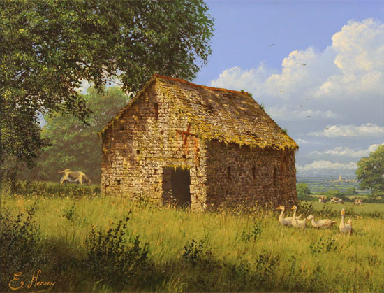 Edward Hersey, Original oil painting on canvas, Summer Solitude Without frame image. Click to enlarge