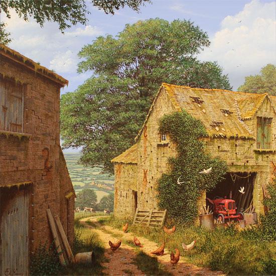 Edward Hersey, Original oil painting on canvas, Farmyard Corner