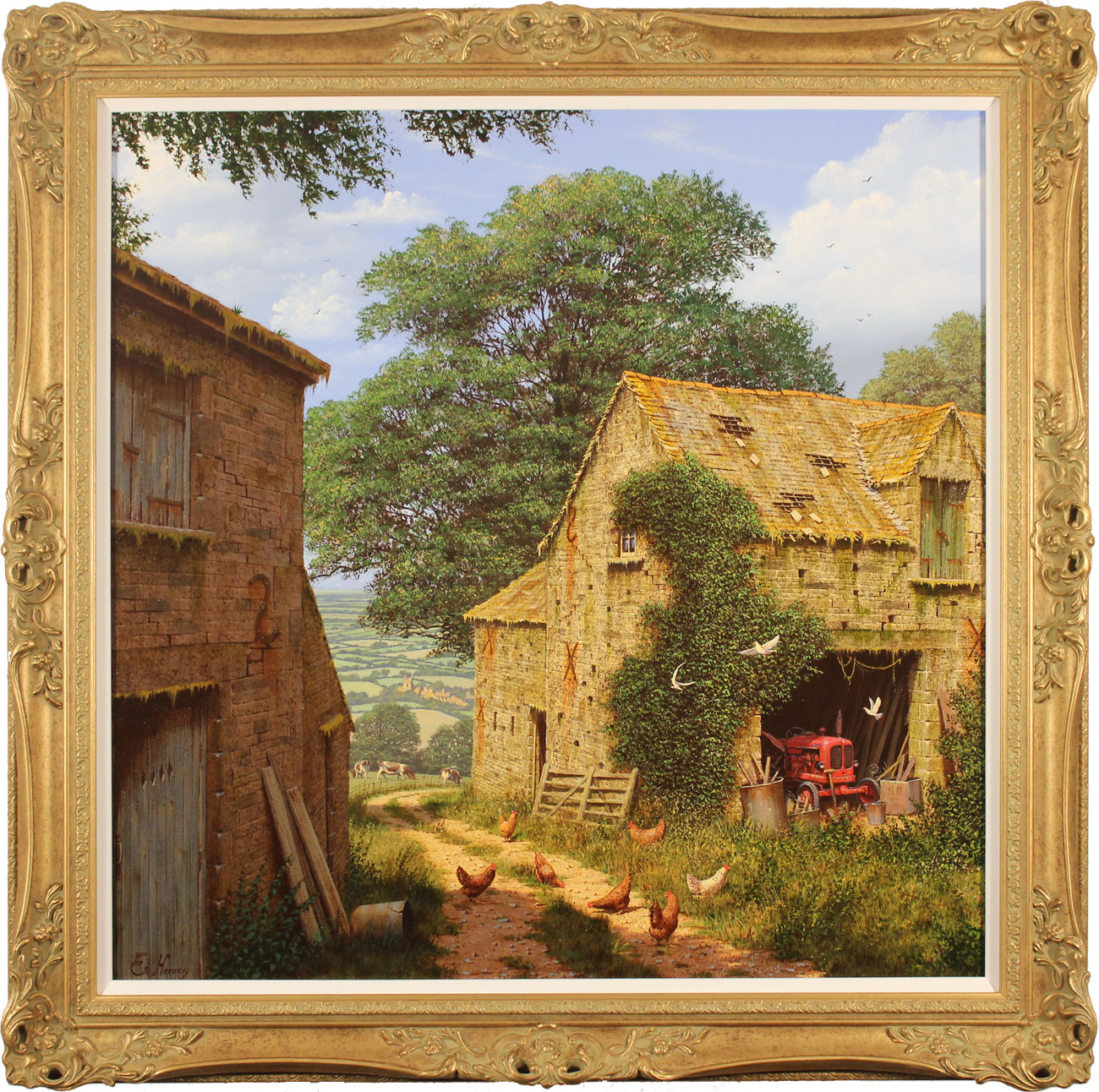 Edward Hersey, Original oil painting on canvas, Farmyard Corner, click to enlarge
