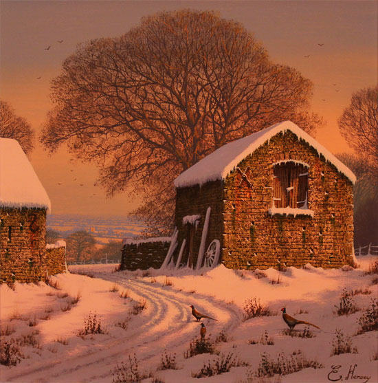 Edward Hersey, Original oil painting on canvas, Winter's Calm Without frame image. Click to enlarge