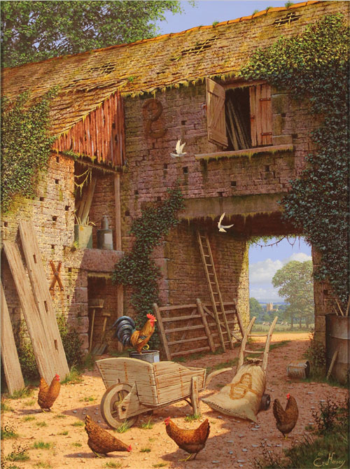 Edward Hersey, Original oil painting on canvas, Tales of the Yard No frame image. Click to enlarge