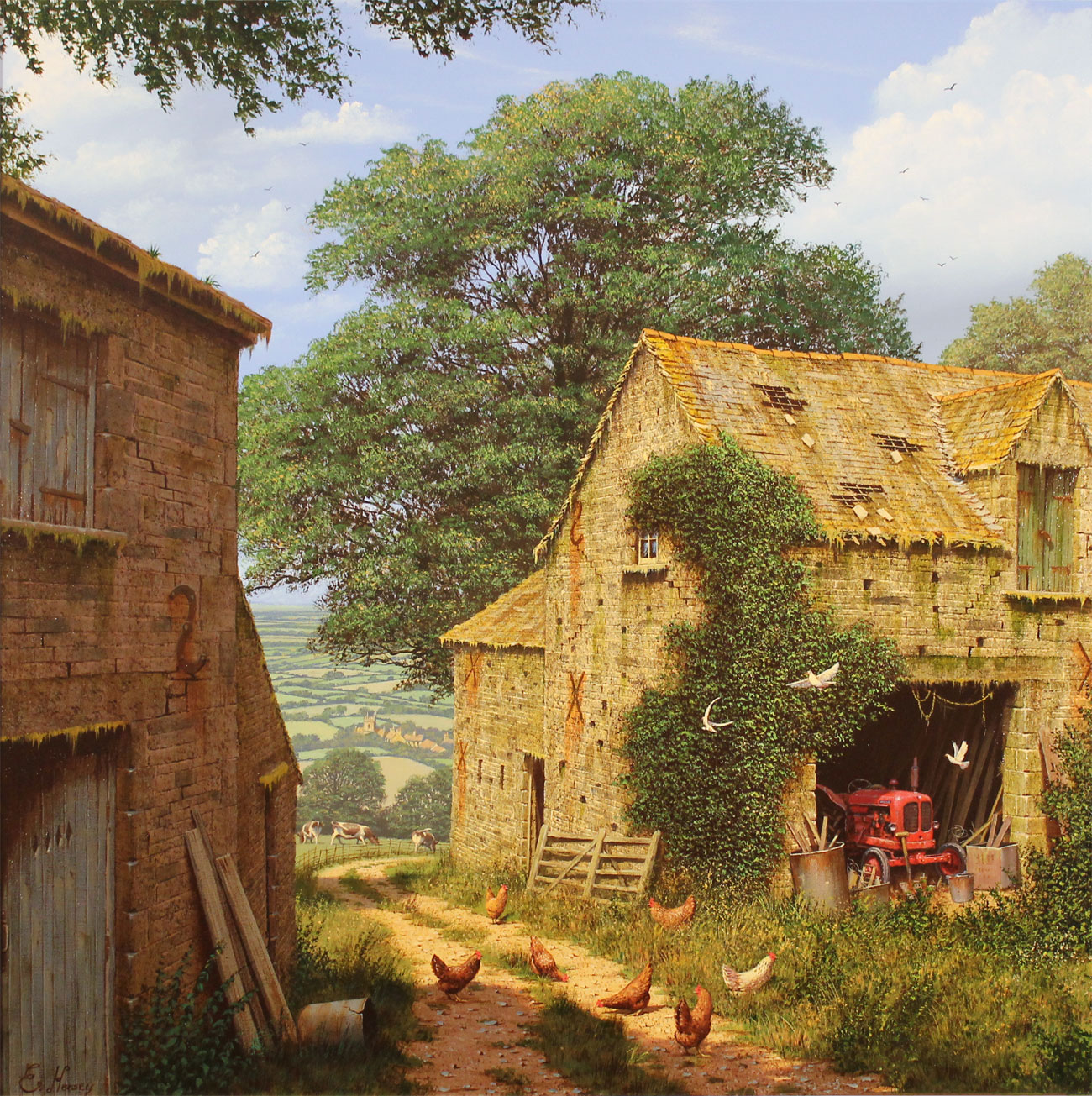Edward Hersey, Signed limited edition print, Farmyard Corner, click to enlarge