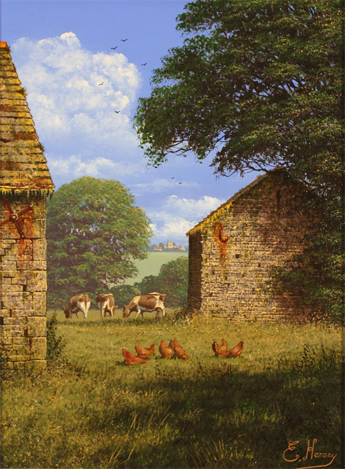 Edward Hersey, Original oil painting on canvas, One Fine Yorkshire Morning Without frame image. Click to enlarge