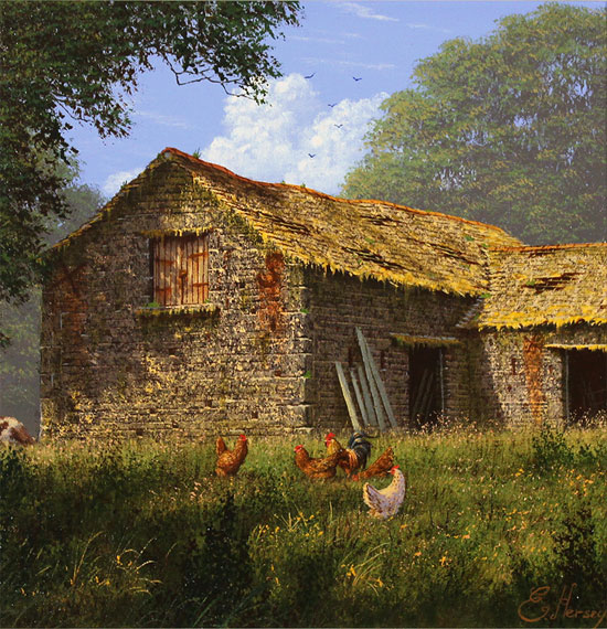 Edward Hersey, Original oil painting on canvas, The Summer Barn Without frame image. Click to enlarge