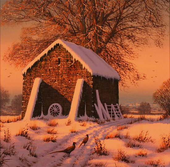 Edward Hersey, Original oil painting on canvas, A Crisp Winter's Eve Without frame image. Click to enlarge