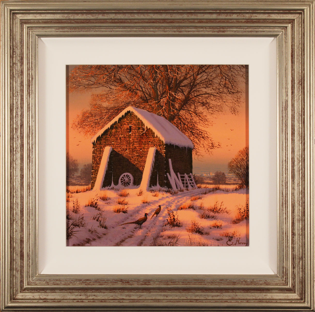 Edward Hersey, Original oil painting on canvas, A Crisp Winter's Eve. Click to enlarge