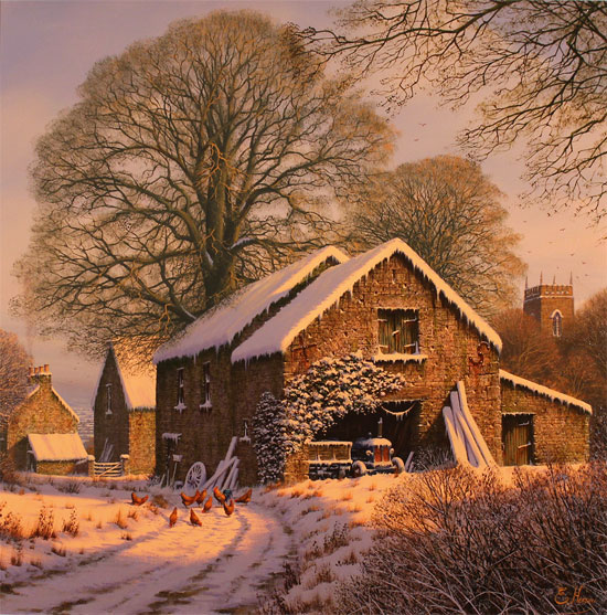 Edward Hersey, Original oil painting on canvas, Winter Warmth, Yorkshire Dales No frame image. Click to enlarge