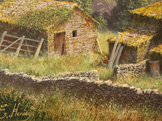 Edward Hersey, Original oil painting on canvas, Crackpot Hall, North Yorkshire Signature image. Click to enlarge