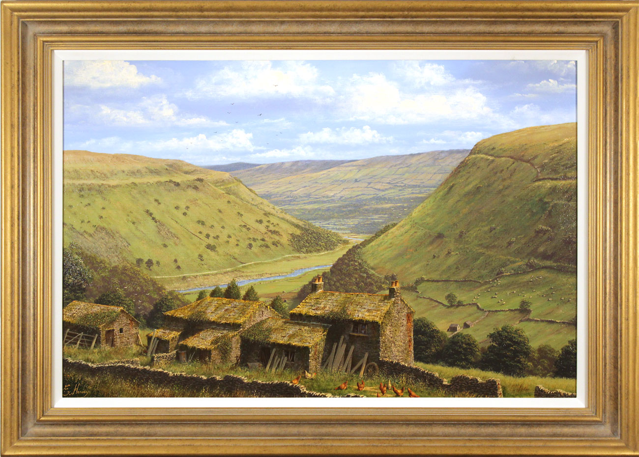 Edward Hersey, Original oil painting on canvas, Crackpot Hall, North Yorkshire, click to enlarge