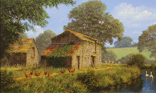 Edward Hersey, Original oil painting on canvas, Waterside Farm No frame image. Click to enlarge