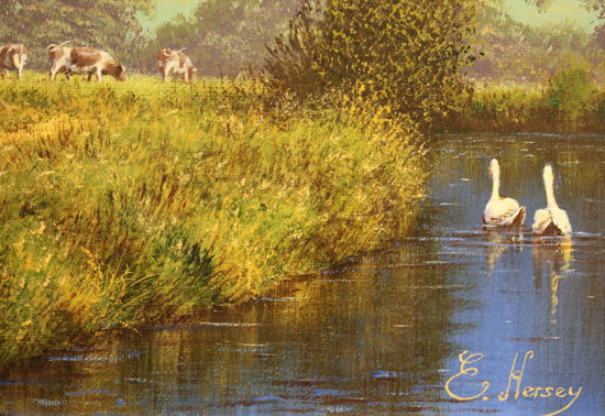 Edward Hersey, Original oil painting on canvas, Waterside Farm Signature image. Click to enlarge
