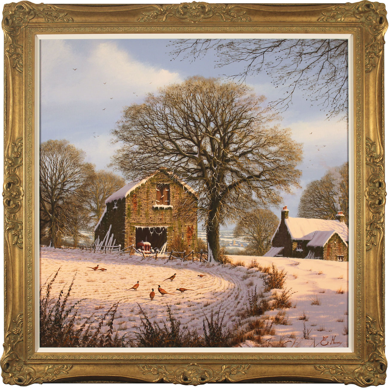 Edward Hersey, Original oil painting on canvas, A Light Dusting, Yorkshire Dales. Click to enlarge