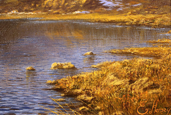 Edward Hersey, Original oil painting on canvas, Innominate Tarn, The Lake District Signature image. Click to enlarge