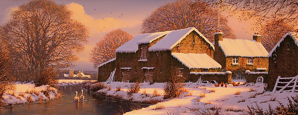 Edward Hersey, Signed limited edition print, Winter Warmth, Yorkshire Dales. Click to enlarge