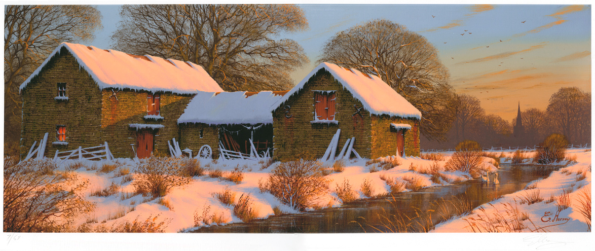 Edward Hersey, Signed limited edition print, The Warmth of Winter, Yorkshire Dales, click to enlarge