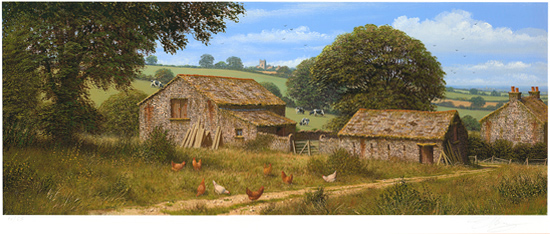 Edward Hersey, Signed limited edition print, Summer Farmhouse