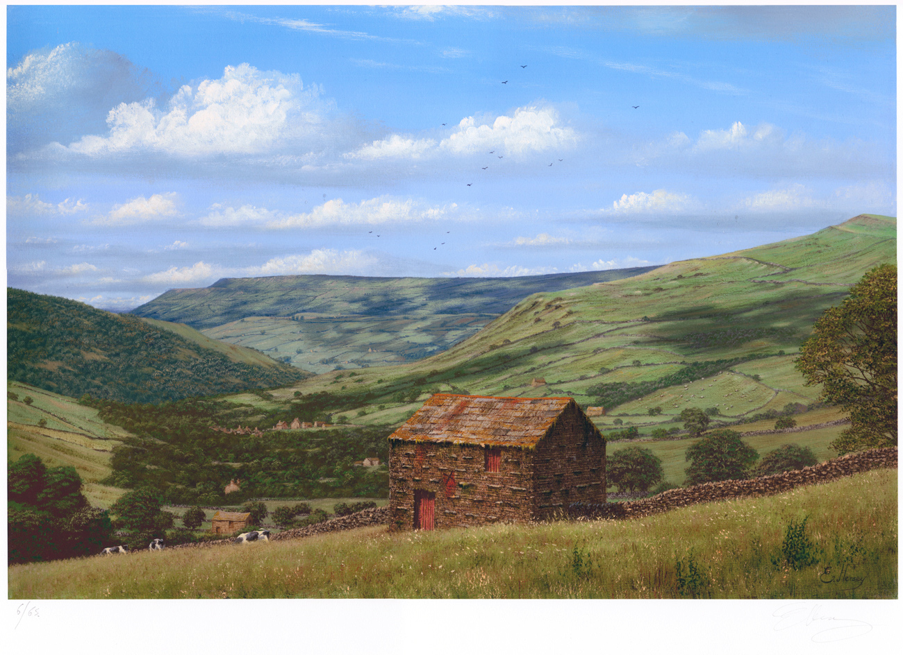 Edward Hersey, Signed limited edition print, Muker, North Yorkshire. Click to enlarge