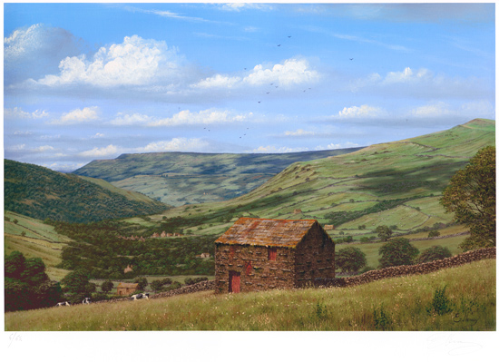 Edward Hersey, Signed limited edition print, Muker, North Yorkshire No frame image. Click to enlarge