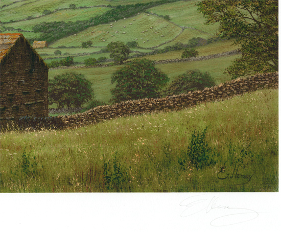 Edward Hersey, Signed limited edition print, Muker, North Yorkshire Signature image. Click to enlarge