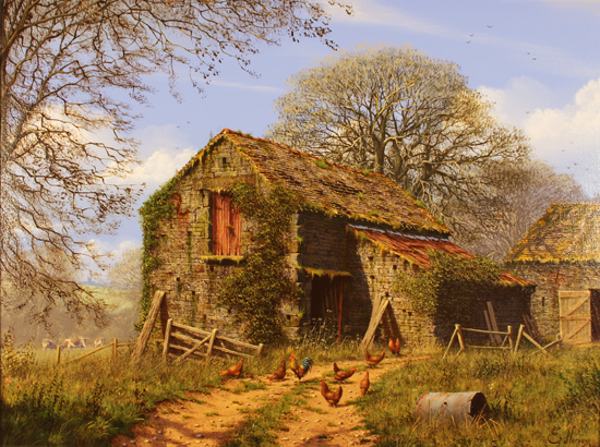 Edward Hersey, 'Farmyard in Early Spring, The Cotswolds ' Oil on canvas