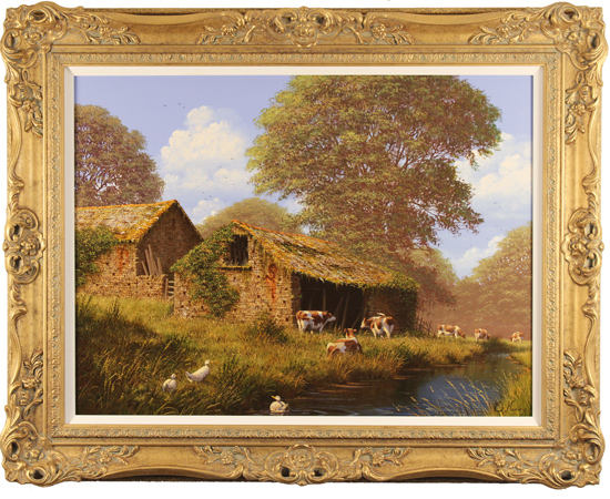 Edward Hersey, 'Grazing by the River, The Cotswolds' Oil on canvas