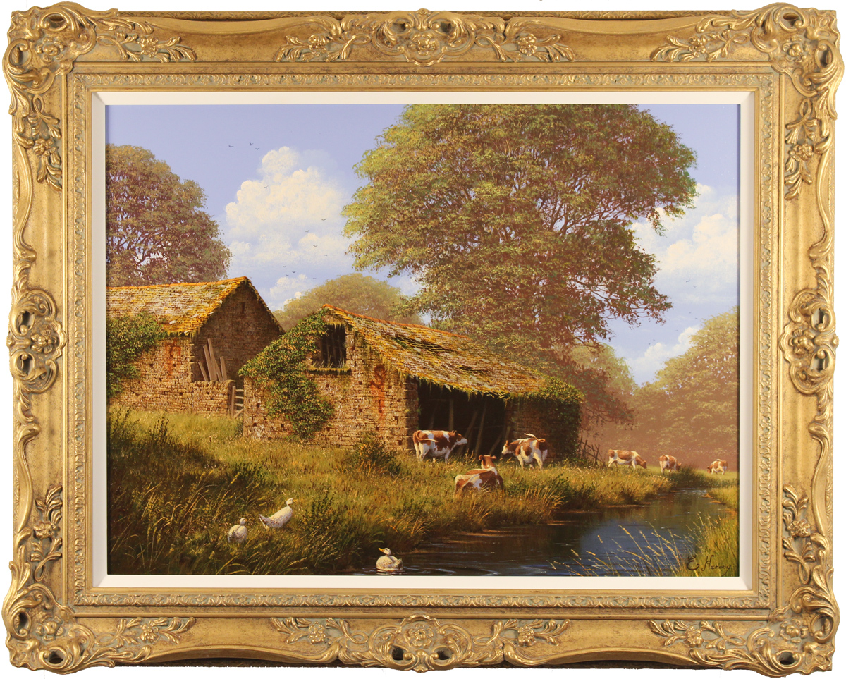 Edward Hersey, Original oil painting on canvas, Grazing by the River, The Cotswolds, click to enlarge
