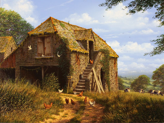 Edward Hersey, Original oil painting on canvas, Stone Barn, North Yorkshire No frame image. Click to enlarge