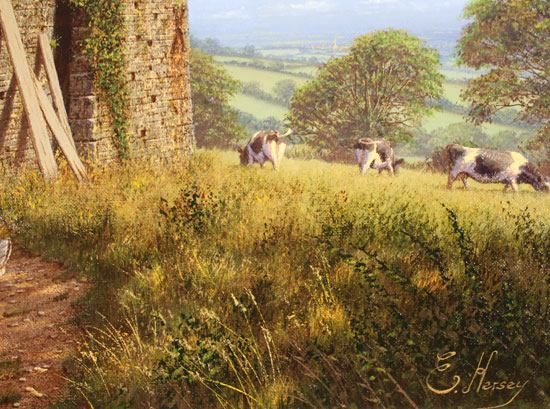 Edward Hersey, Original oil painting on canvas, Stone Barn, North Yorkshire Signature image. Click to enlarge