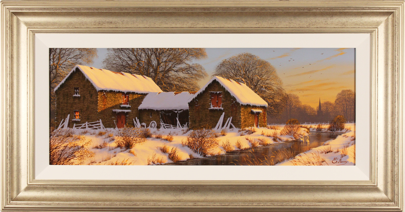 Edward Hersey, Original oil painting on canvas, The Warmth of Winter, Yorkshire Dales, click to enlarge