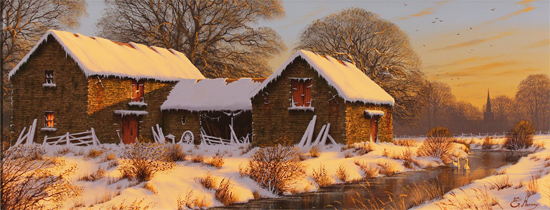 Edward Hersey, Original oil painting on canvas, The Warmth of Winter, Yorkshire Dales