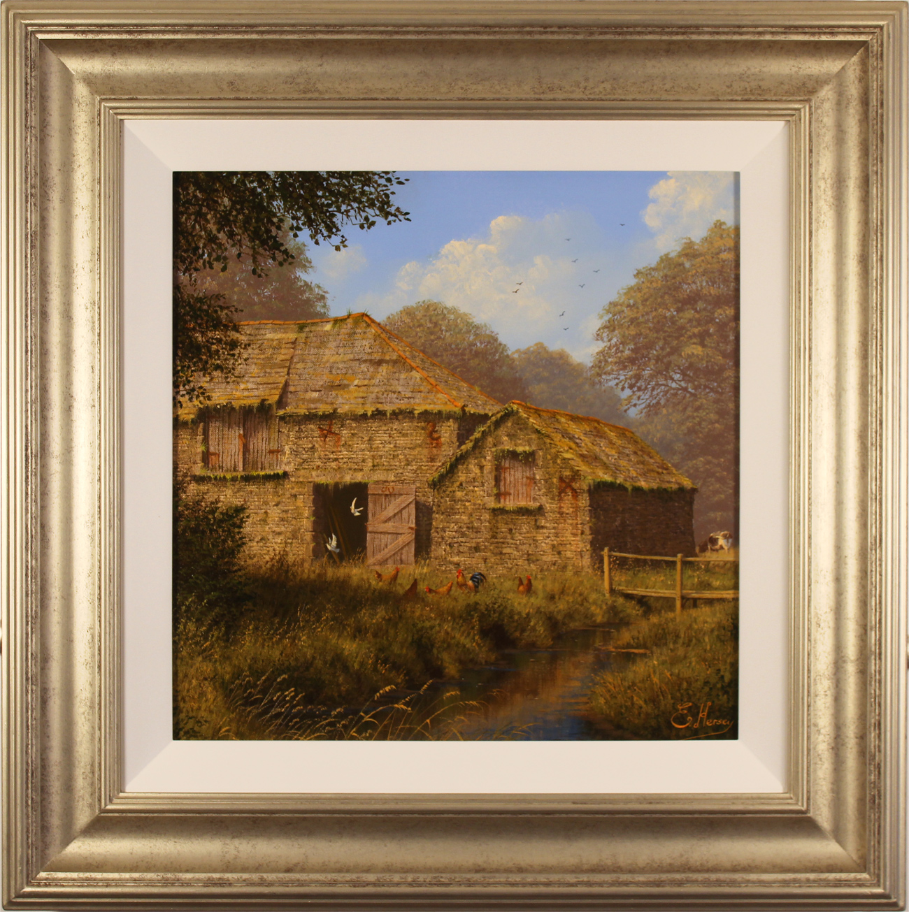 Edward Hersey, Original oil painting on canvas, Oakbridge Farm, The Cotswolds, click to enlarge